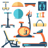 Fitness sport gym exercise equipment workout flat Royalty Free Stock Images