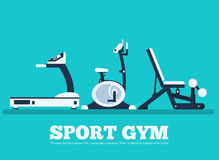 Fitness sport gym exercise equipment workout flat Stock Image
