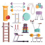 Fitness sport gym exercise equipment workout flat set concept vector illustration. Royalty Free Stock Photo