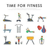 Fitness sport gym exercise equipment workout flat set concept vector illustration. Stock Photography