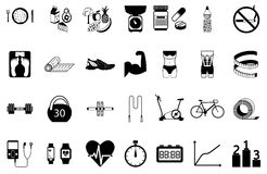 Fitness sport and health silhouette icons set Stock Photography