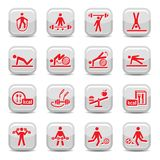 Fitness and sport icons Stock Images