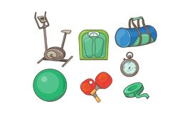 Fitness sport icons set, exercise bike, scales, bag, measuring tape, fitball, table tennis rackets, stopwatch vector royalty free illustration