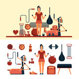 Fitness sport objects isolated on white background. Vector design elements and icons.  Royalty Free Stock Photo