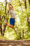 Fitness, sport,  and people concept man jumping and exercise Royalty Free Stock Photography