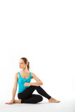 Fitness, sport, training, gym and lifestyle concept - beautiful. Sporty woman doing exercise on the floor royalty free stock images