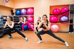 Fitness, sport, training, gym and lifestyle concept - group of smiling people doing aerobic. royalty free stock images