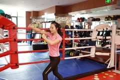 Asain chinese smiling girl boxing in the gym. Sports, power. Fitness, sport, training, gym and lifestyle concept - A shot of an asian female punching Royalty Free Stock Image