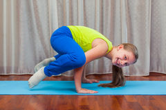 Fitness. sport, training and lifestyle concept - Child doing exercises on mat in home. Fitness. sport, training and lifestyle concept fitness exercises at home stock photos