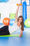 Fitness, sport, training and lifestyle concept - woman doing phy Stock Photo