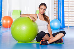 Fitness, sport, training and lifestyle concept - woman stretchin Stock Photography