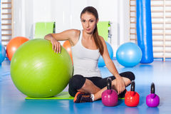 Fitness, sport, training and lifestyle concept - woman stretchin Royalty Free Stock Photos
