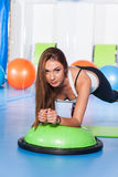 Fitness, sport, training and lifestyle concept - woman stretchin Royalty Free Stock Photography