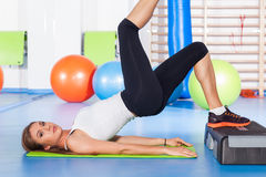 Fitness, sport, training and lifestyle concept - woman stretchin Royalty Free Stock Photo