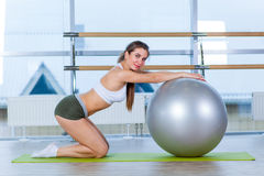 Fitness, sport, training and people concept - woman with fitness ball Royalty Free Stock Photography
