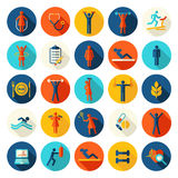 Fitness, sport vector flat icons set. Royalty Free Stock Photo