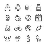 16 Fitness and Sport vector icons. For web and mobile Royalty Free Stock Images