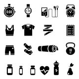 Fitness and Sport vector icons for web and mobile. Gym bag essentials. fitness icons set, gym, workout, exercises, training pictograms on white, vector Royalty Free Stock Photos