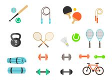 Fitness and Sport vector icons for web and mobile. Healthy lifestyle tools, elements. Stock Images