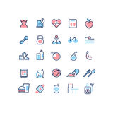 Fitness and sport vector line icons set Royalty Free Stock Images