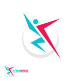 Fitness Sport - vector logo template concept illustration. Human character. Abstract running man figure. People sign. Positive dance. Design element Royalty Free Stock Photos