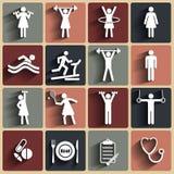 Fitness, sport vector vlakke die pictogrammen met schaduwen worden geplaatst Royalty-vrije Stock Foto's