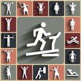 Fitness, sport vector vlakke die pictogrammen met schaduwen worden geplaatst Stock Foto