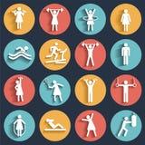 Fitness, sport vector vlakke die pictogrammen met schaduwen worden geplaatst Stock Afbeelding