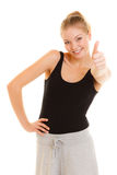 Fitness sport woman thumb up sign hand gesture. Stock Photos