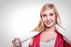 Fitness sport woman white towel on shoulders, studio shot Royalty Free Stock Images