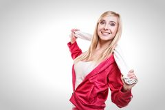 Fitness sport woman white towel on shoulders, studio shot Royalty Free Stock Photo