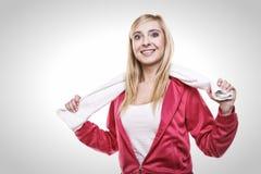 Fitness sport woman white towel on shoulders, studio shot Stock Photos