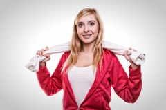 Fitness sport woman white towel on shoulders, studio shot. Fitness sport woman portrait studio shot. Smiling happy female sporty girl with white towel on Royalty Free Stock Image