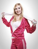 Fitness sport woman white towel on shoulders, studio shot Stock Image