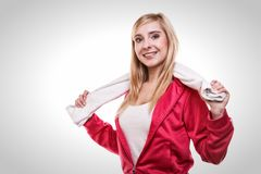 Fitness sport woman white towel on shoulders, studio shot Stock Images