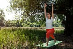 Fitness, sport, yoga and healthy lifestyle- beautiful woman medi Royalty Free Stock Image