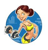 Fitness. Sporting girl with dumbbells. Eps10  illustration.  on white background Stock Photos