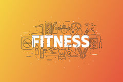 Fitness And Sports. Banner With Stroke Line Icon Cloud. Logo Pictograms. Premium Quality Simple Symbols Collection. Vector Illustration Design. Web Graphics Royalty Free Stock Photos