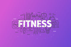 Fitness And Sports. Banner With Stroke Line Icon Cloud. Logo Pictograms. Premium Quality Simple Symbols Collection. Vector Illustration Design. Web Graphics Stock Images