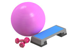 Fitness and sports equipment concept. Aerobic step board, dumbbe Royalty Free Stock Photography