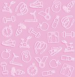 Fitness, sports, pink background. Royalty Free Stock Photos