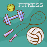 Fitness and sports set. Tennis and soccer balls, dumbbell and skipping rope. Vector illustrations in cartoon style for weight loss Royalty Free Stock Images