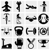 Fitness and sports vector icon set. Fitness and sports icons set isolated on grey background.EPS file available Stock Photos