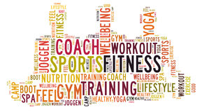Fitness sports and wellbeing lifestyle. Word cloud Stock Photography