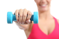 Fitness sportswoman lifting weights exercising aerobic Royalty Free Stock Photos