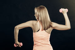 Fitness sporty girl lifting weights back view Royalty Free Stock Image