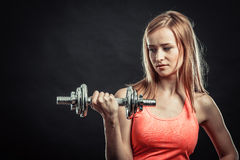 Fitness sporty girl lifting weights Stock Photography