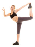 Fitness sporty girl showing ok okay hand sign gesture Royalty Free Stock Photos