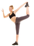 Fitness sporty girl showing ok okay hand sign gesture Royalty Free Stock Photo