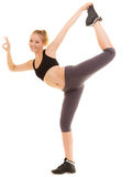 Fitness sporty girl showing ok okay hand sign gesture Stock Photos